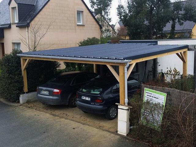Abri voiture bois avec les meilleures collections d 39 images - Garage pour deux voitures ...